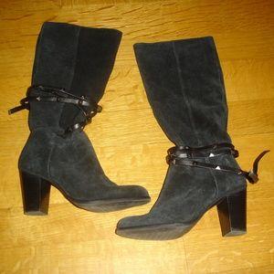 ANTONIO MELANI BINX Women Sz 7M Black Suede Boots